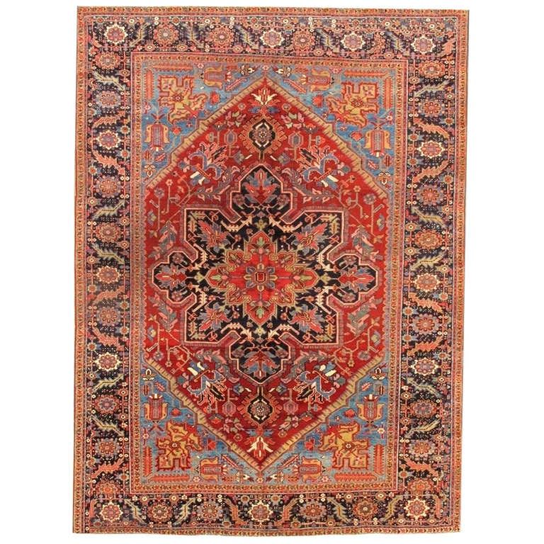 Antique  Rust and Blue Persian Heriz Carpet
