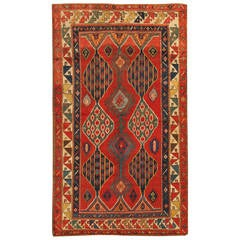 Late 19th Century Red, Blue Kazakh Rug