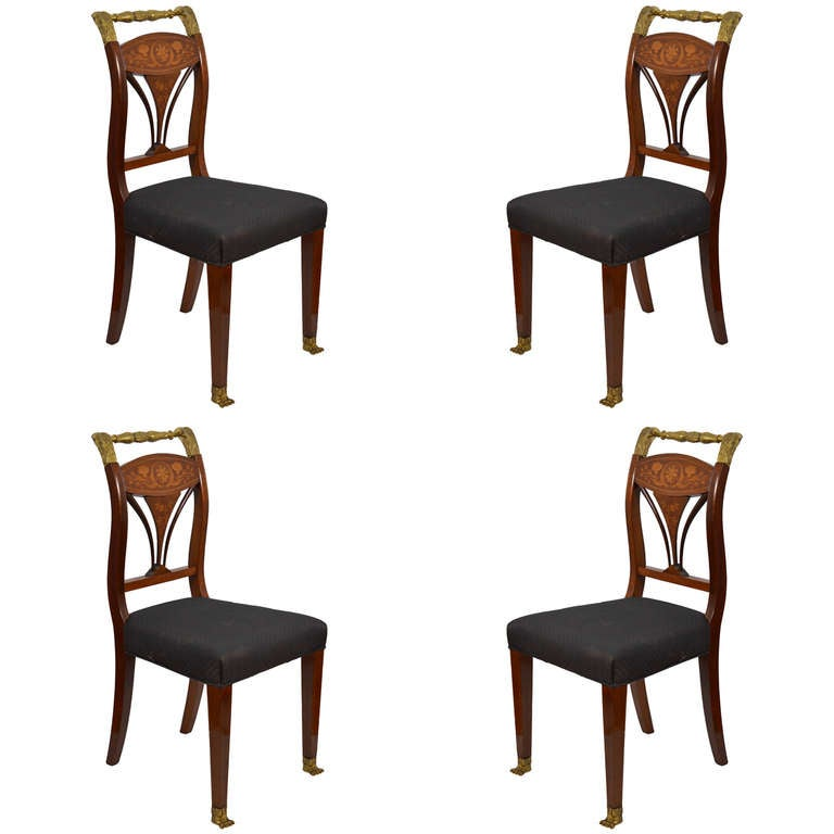 Set Of Four Regency Style Inlaid Side Chairs At 1stdibs