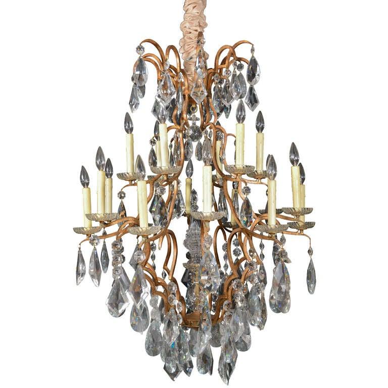 Eighteen-Light Crystal Versailles Chandelier