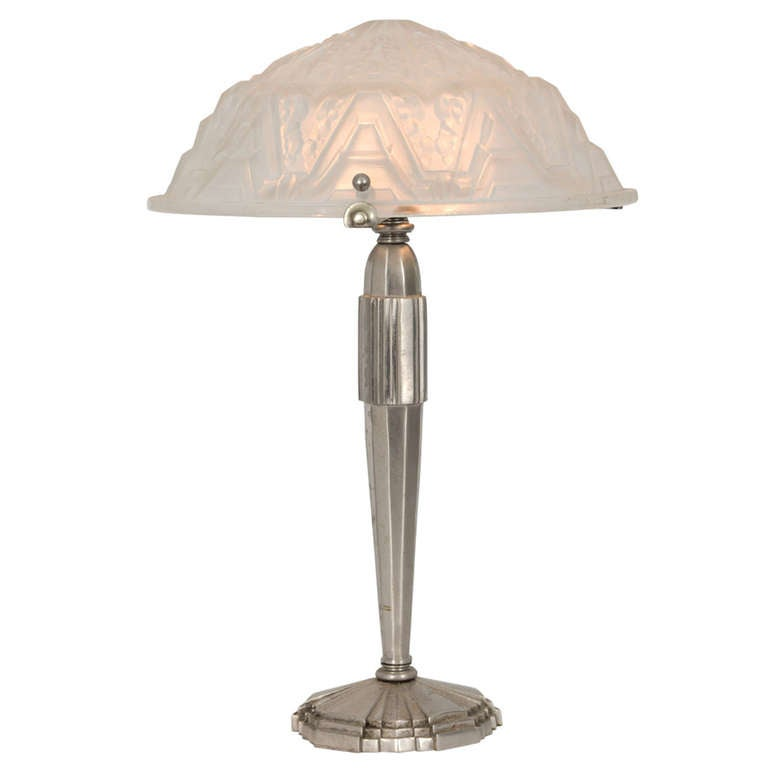 1920s Art Deco Table Lamp With Signed Glass Shade For Sale