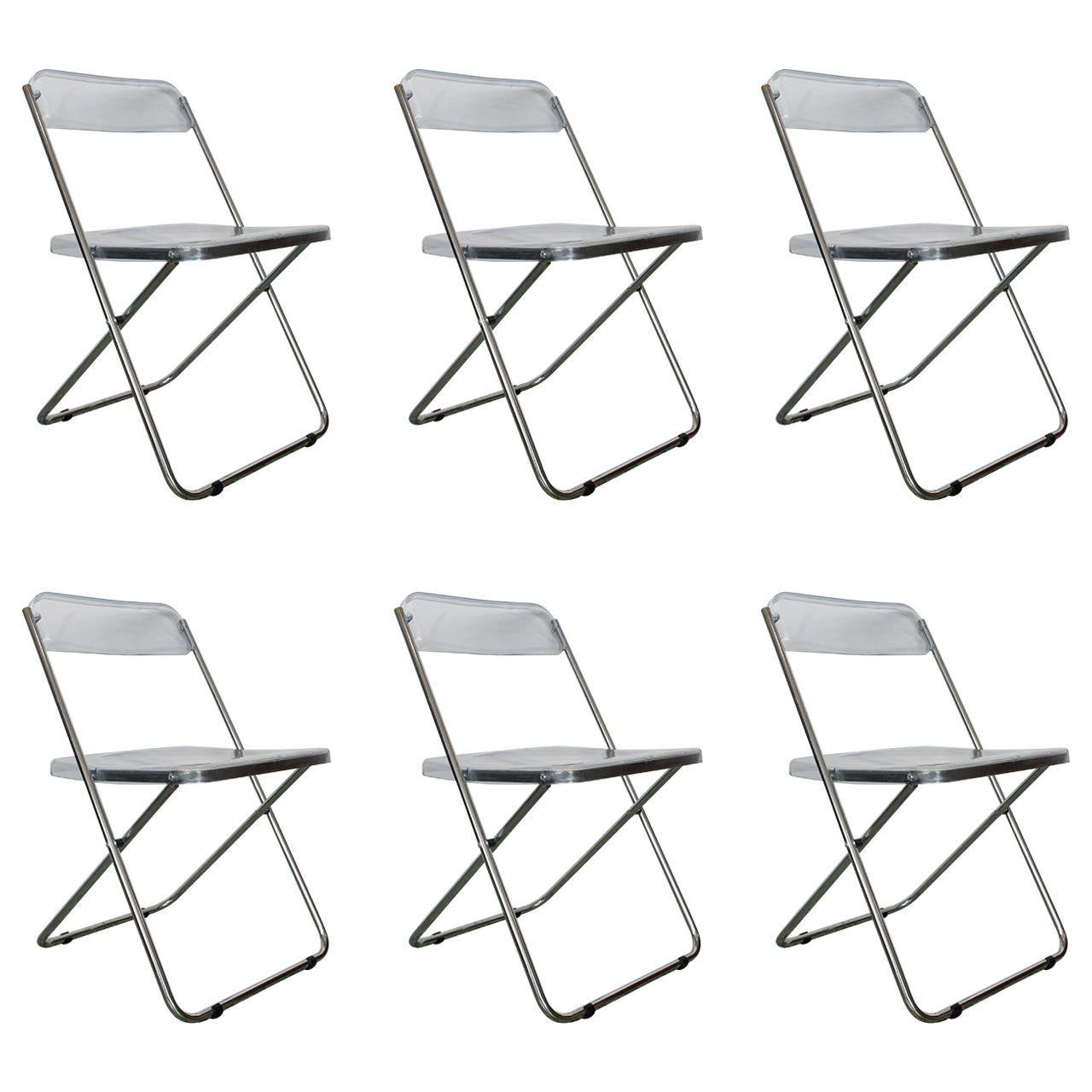 Six Folding Vintage Transparent Lucite Chrome Italian Chairs By Cattaneo  For Sale