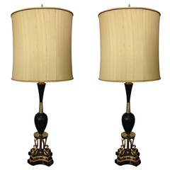 Pair of Hollywood Regency Brass and Black Marble Rembrandt Table Lamps