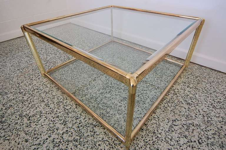 hollywood regency gold and glass square coffee table at 1stdibs