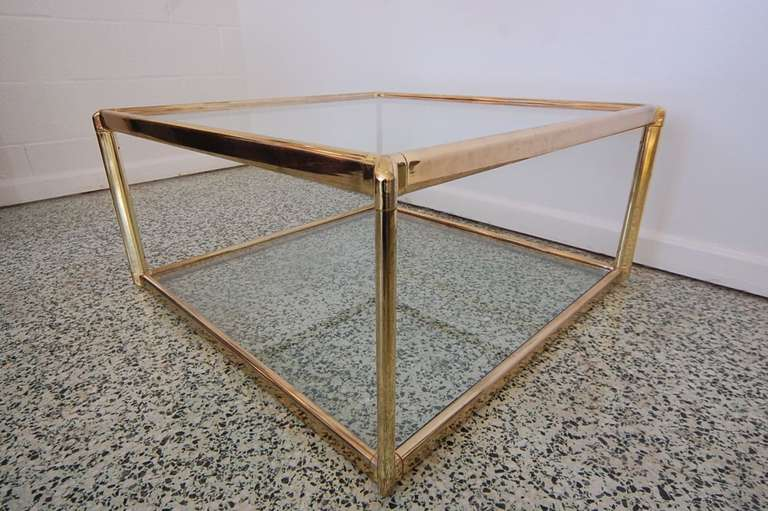 Merveilleux Very Nice Gold And Glass Vintage Coffee Table With Two Glass Shelves.  Beautiful Classic Design