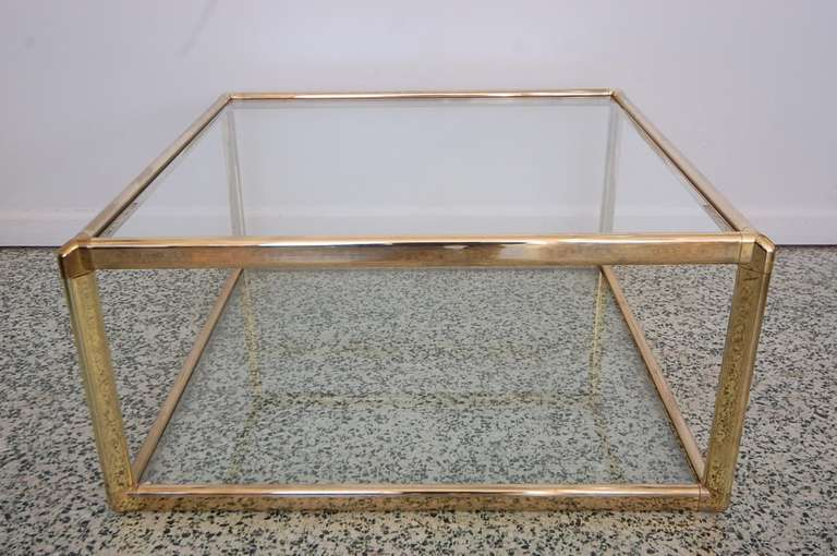 hollywood regency gold and glass square coffee table at 1stdibs. Black Bedroom Furniture Sets. Home Design Ideas