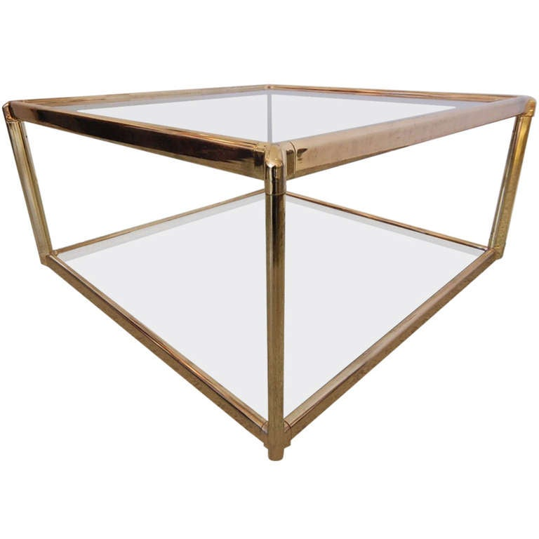 Hollywood Regency Gold And Glass Square Coffee Table 1