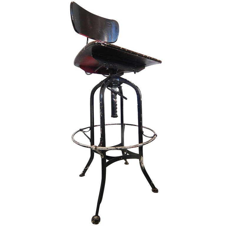 Black Industrial American Industrial Toledo Stool At 1stdibs