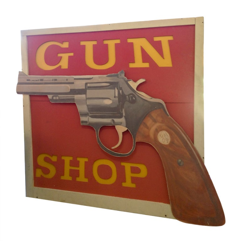 Very Large Vintage Gun Shop Light Up Sign For Sale