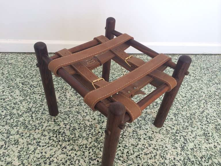 Mid Century Leather Strap Rosewood Stool At 1stdibs