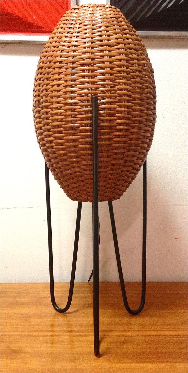 Mid-Century Tripod Hairpin Table Lamp with Rattan Shades at 1stdibs