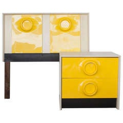 Mid-Century Mod Raymond Loewy Style Yellow Dresser Table and Bed