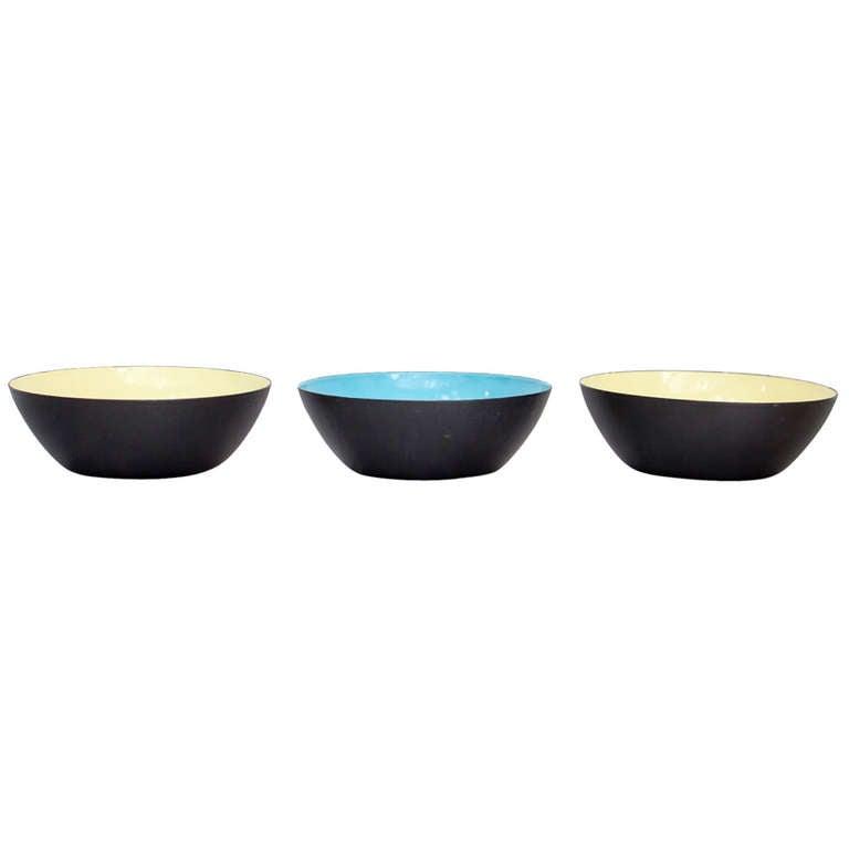 Three Enamel Krenit Bowls by Herbert Krenchel