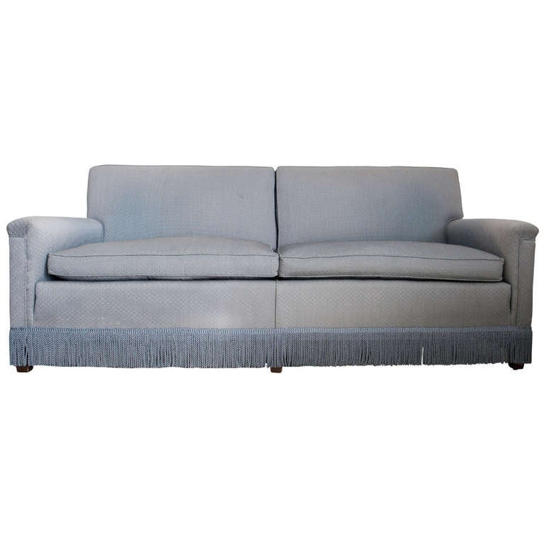Beautiful Blue Down Filled Sofa With Fringe At 1stdibs
