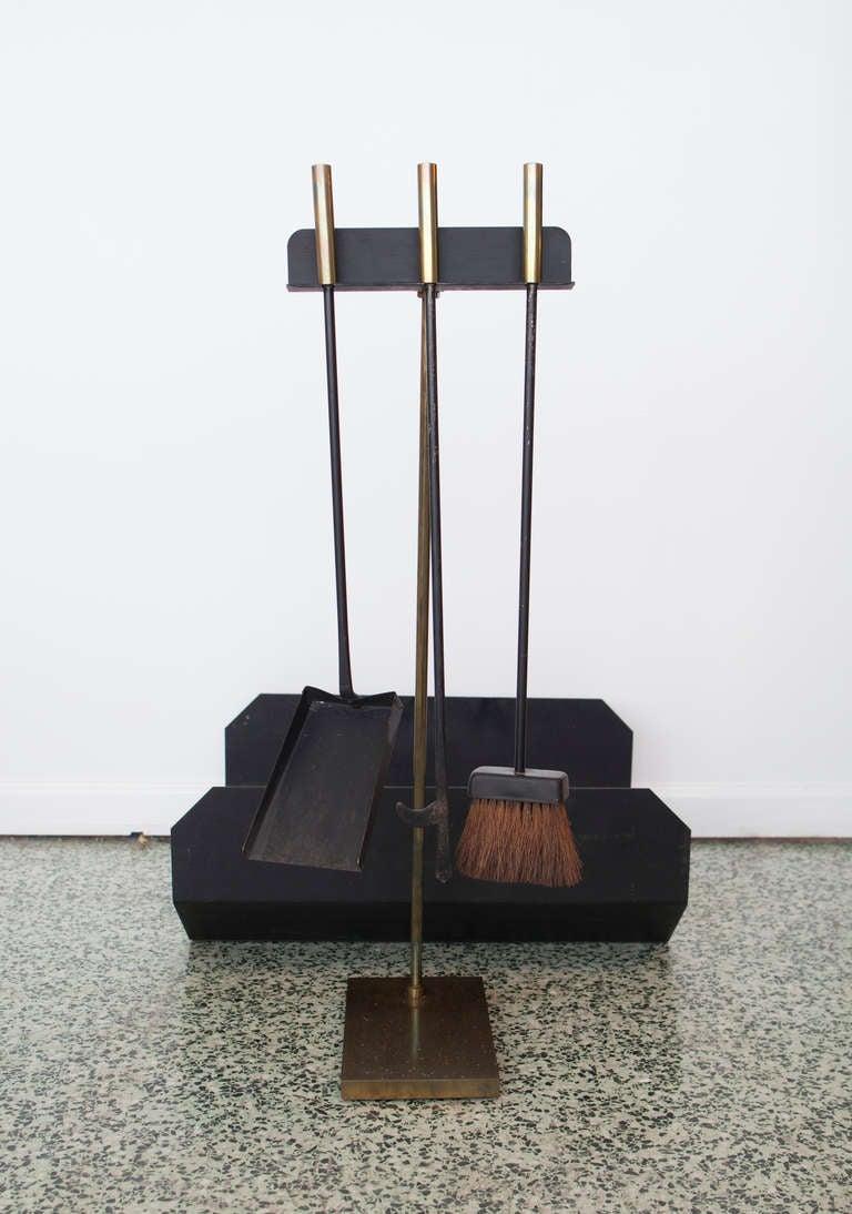 Modernist Fireplace Tool Set Log Holder At 1stdibs