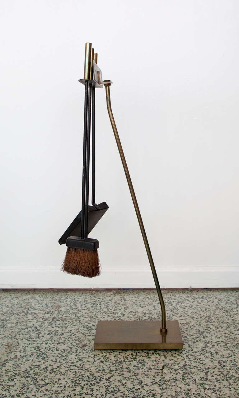 modernist fireplace tool set log holder at 1stdibs