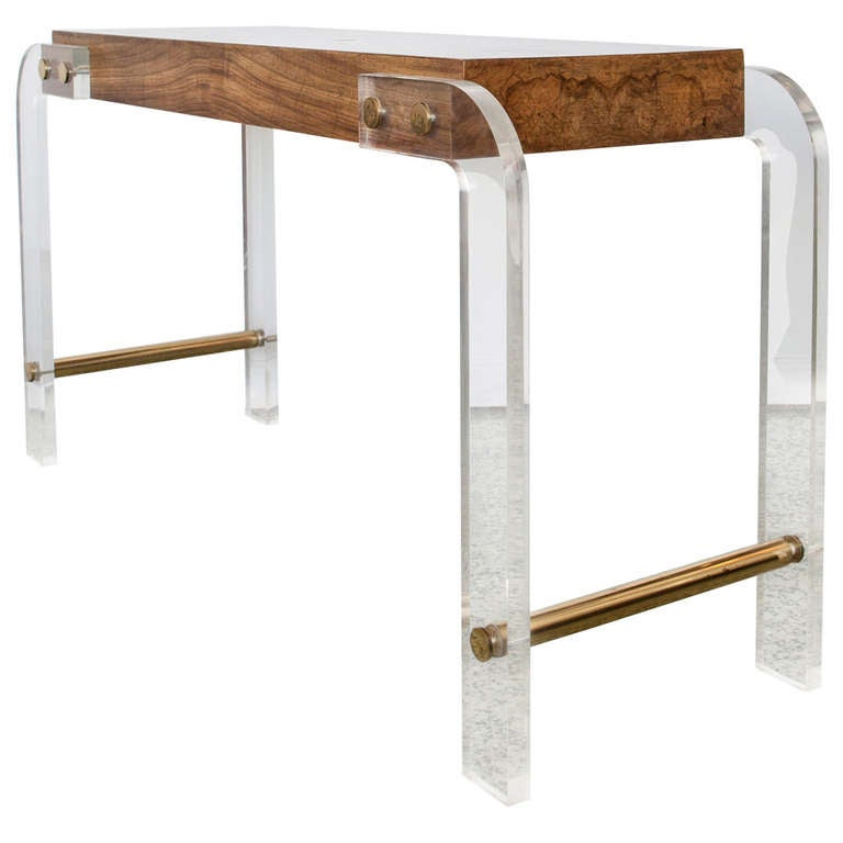Lucite and burlwood console table at 1stdibs