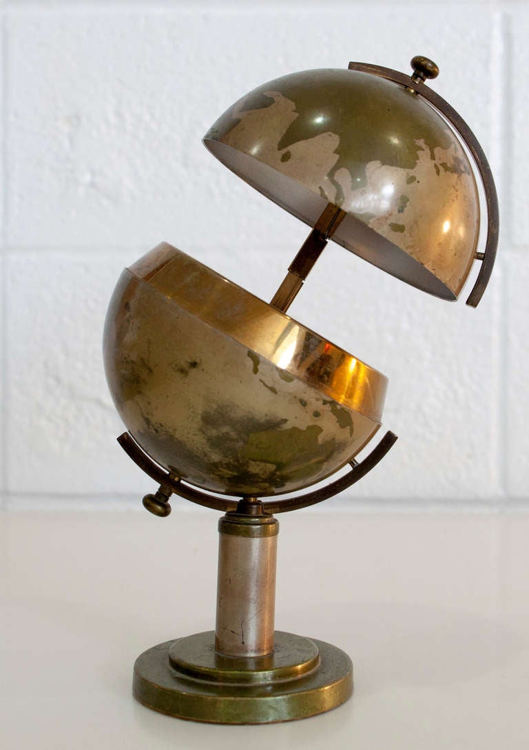 Mid Century Steel And Brass Globe Cigarette Holder At 1stdibs