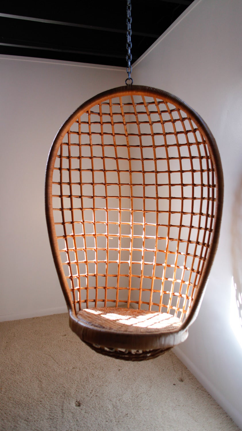 Rattan Hanging Egg Chair, Mid-Century at 1stdibs