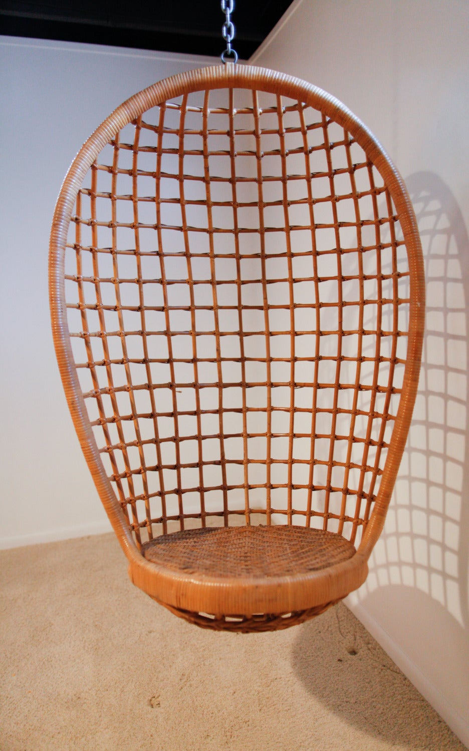 rattan hanging egg chair midcentury 3
