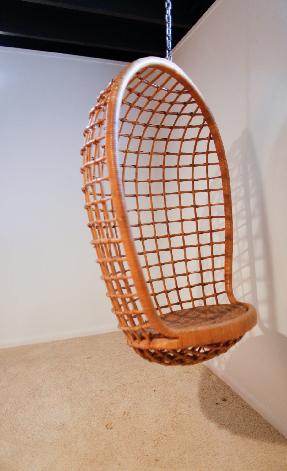rattan hanging egg chair midcentury 2