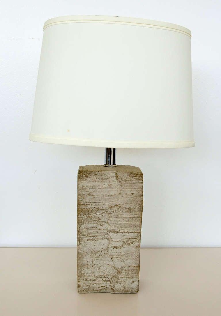 Beautiful organic Mid-Century stone lamp with original shade.