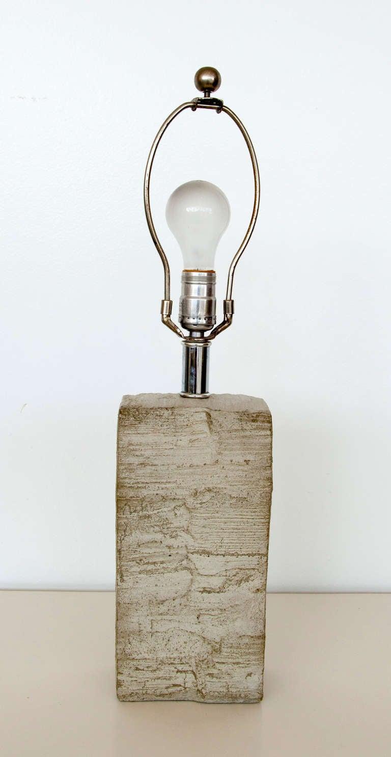 Mid-Century Modern Beautiful Mid-Century Stone Lamp For Sale