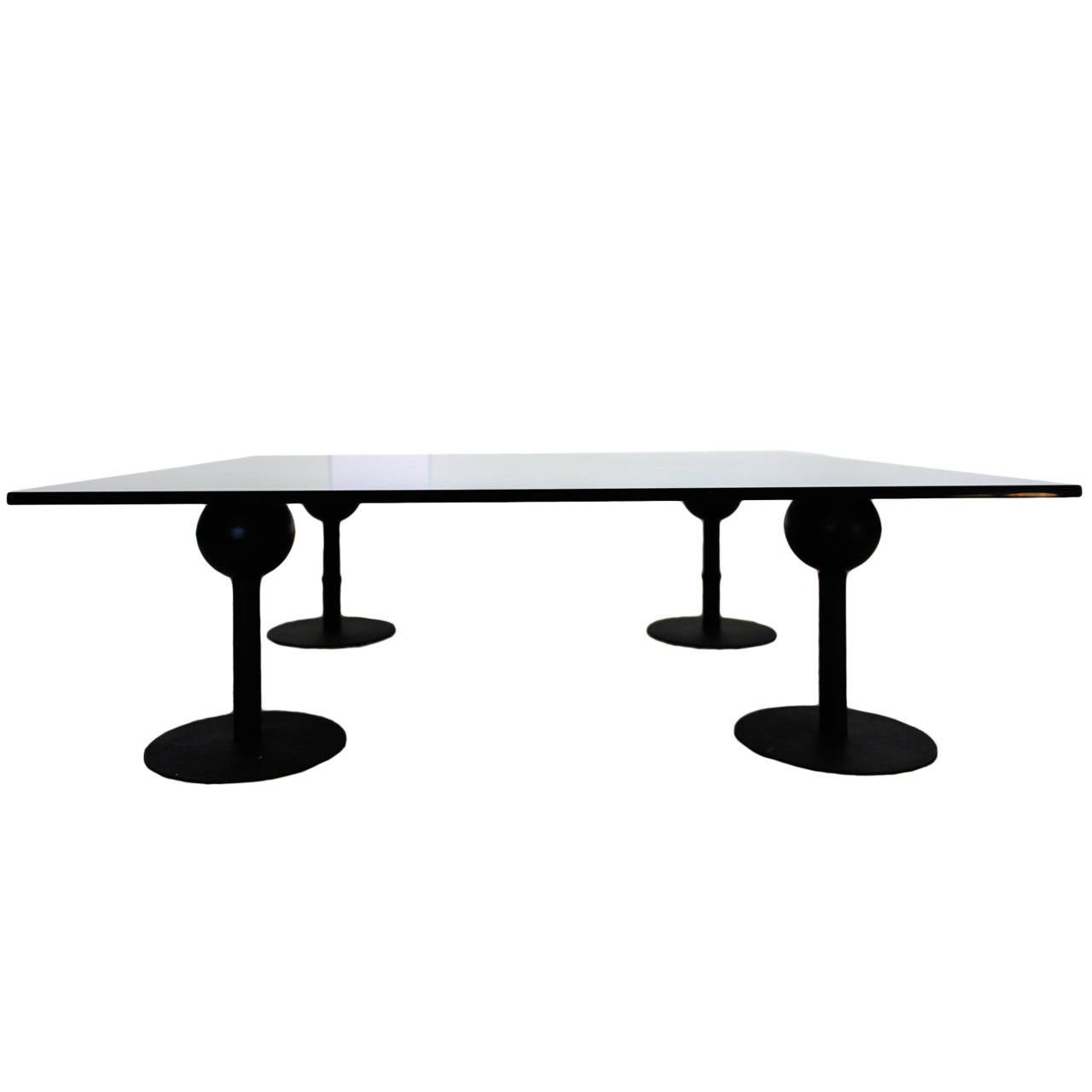 Black modern metal and glass coffee table for sale at 1stdibs Metal and glass coffee table