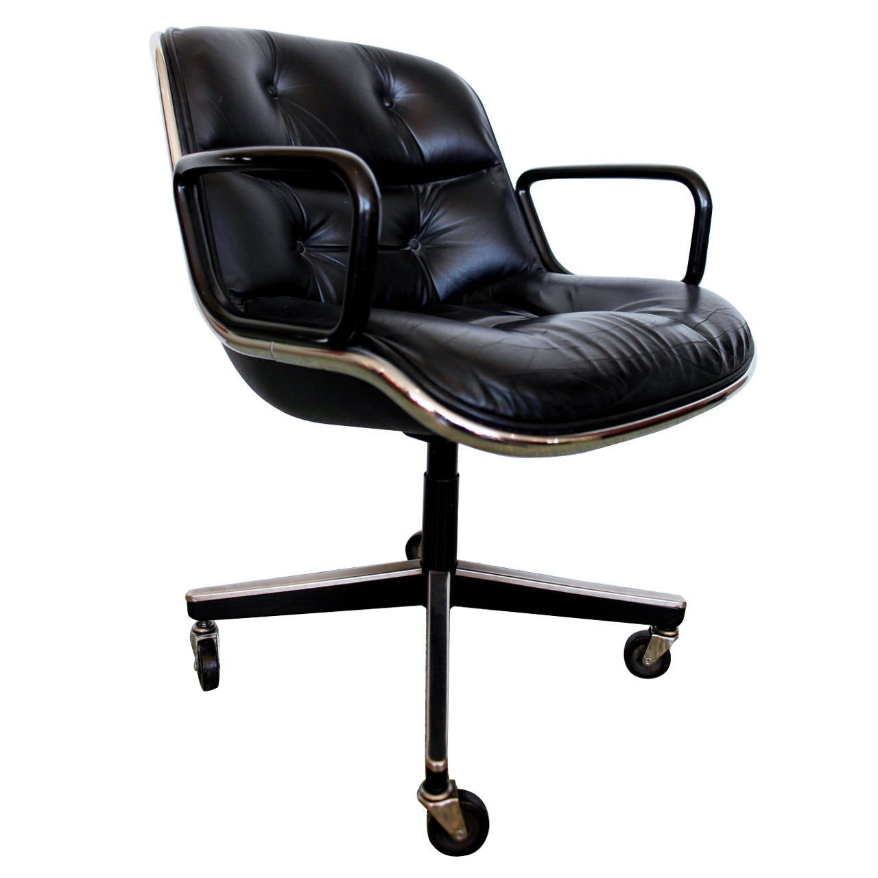 Black Executive Chair by Charles Pollock for Knoll at 1stdibs
