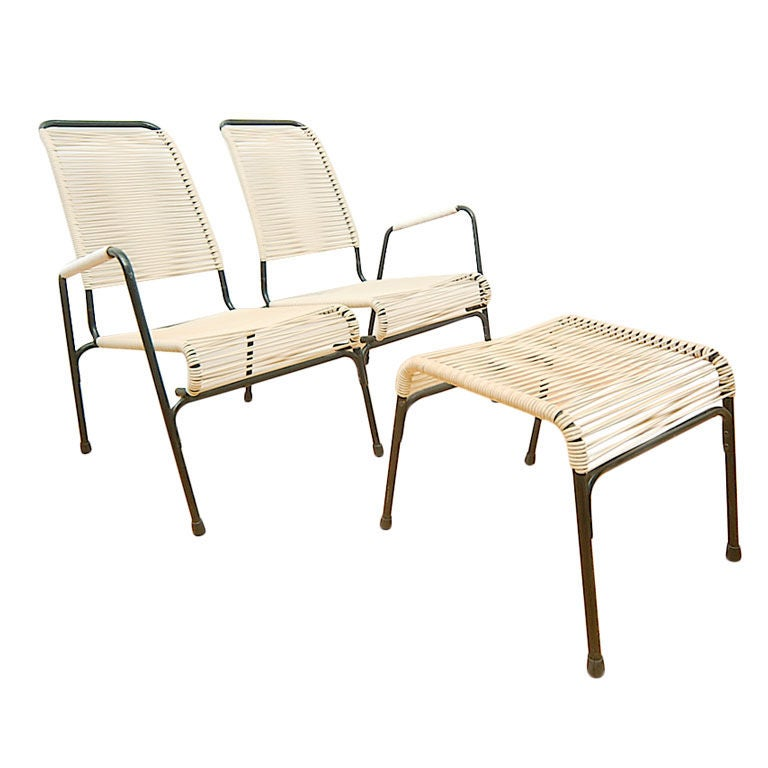 Van Keppel Green Settee Chair And Ottoman Patio Set At 1stdibs