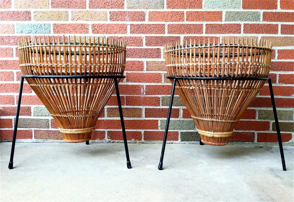 Pair Mid-Century Wicker + Glass Drum Tables Umanoff
