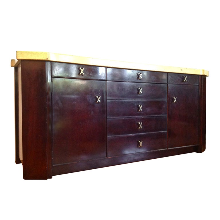 Paul Frankl Mahogany Sideboard With Cork Top At 1stdibs