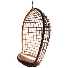 Rattan Hanging Egg Chair, Mid-Century