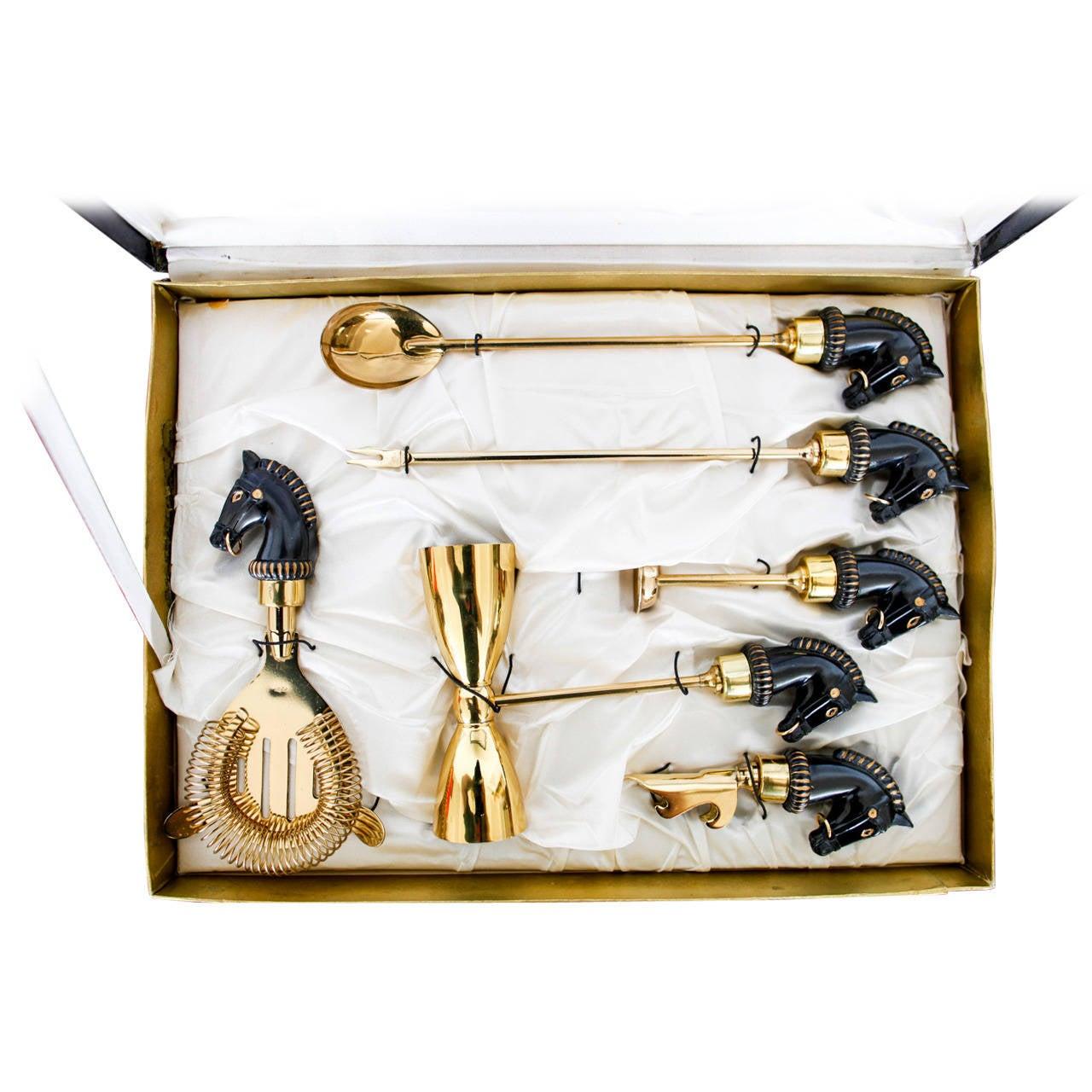 equestrian black and gold mid century barware set at 1stdibs