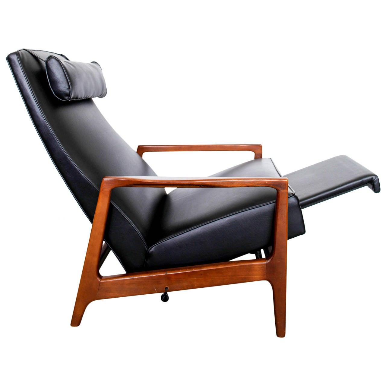 Stunning Leather Black Mid Century Reclining Danish Lounge