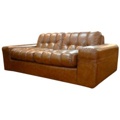 Brown Button Tufted Sofa- On the Manner of Joe Colombo
