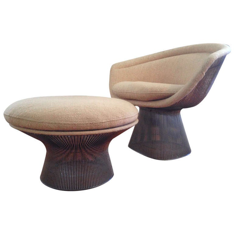 Warren Platner Lounge Chair With Ottoman For Knoll At 1stdibs