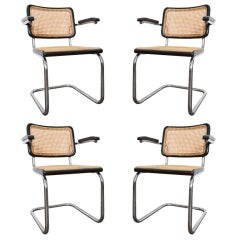 4 Cesca Arm Chairs by Marcel Breuer