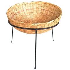 Woven Rattan & Metal Catch All Basket Arthur Umanoff Style