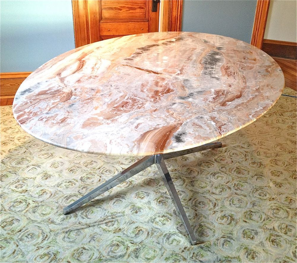 Very Nice Florence Knoll Marble Oval Table Can Be Used As A Dining Or