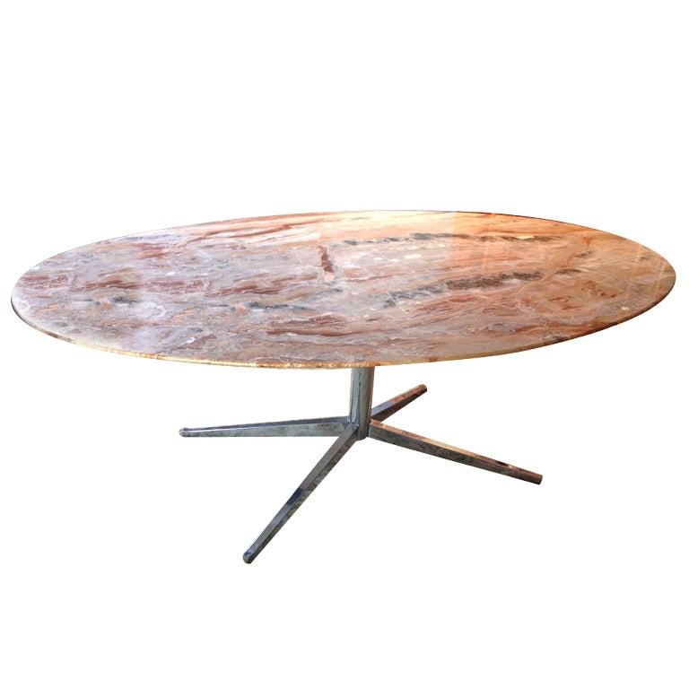 Florence Knoll Oval Marble Top Dining Table At 1stdibs