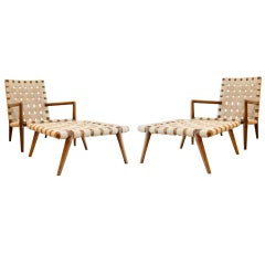 Pair of Lounge Chairs + Ottomans by T.H. Robsjohn-Gibbings for Widdicomb