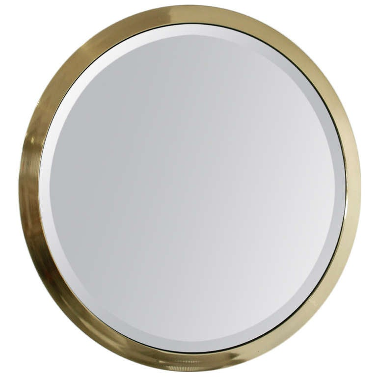 Large mid century round beveled mirror in brass at 1stdibs for Big circle mirror