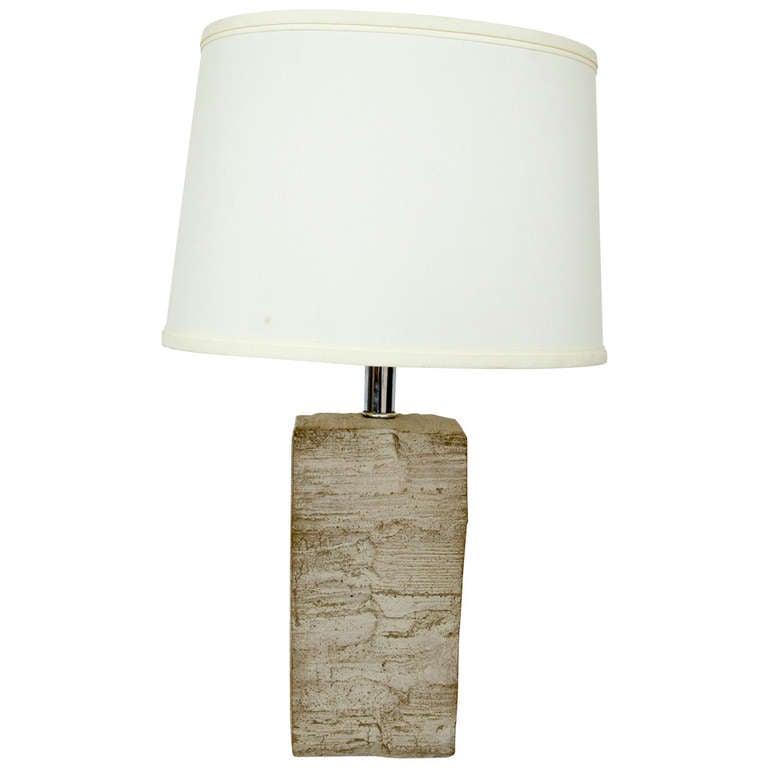 Beautiful Mid-Century Stone Lamp For Sale
