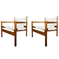 Pair of Mid-Century Michel Arnoult Sling Safari Chairs, Brazil