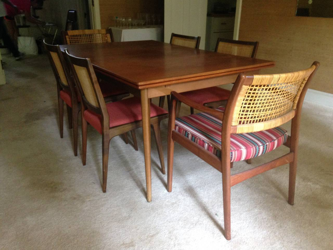 Large Extension Walnut Danish Modern Dining Table By Dux