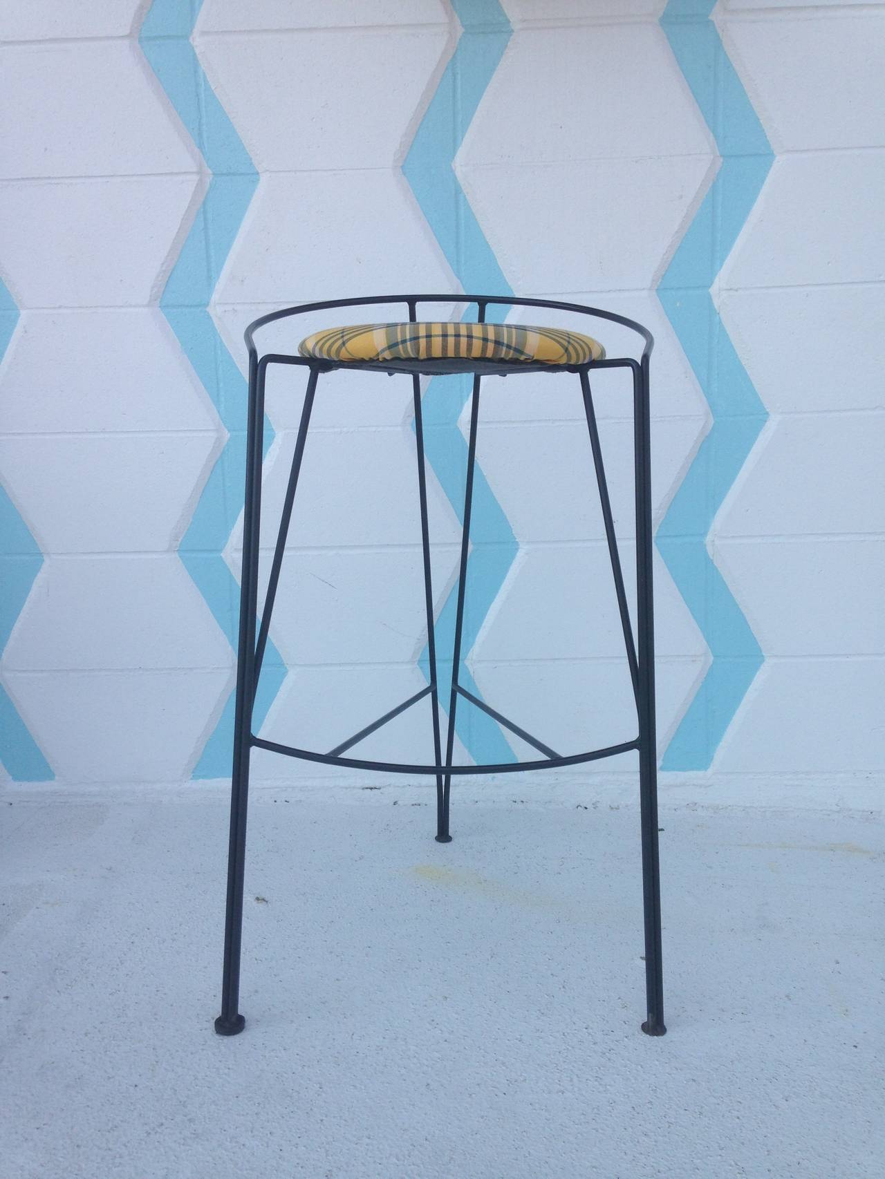 Unique Metal Wire Bar Stools Pair in the Style of Arthur Umanoff at ...