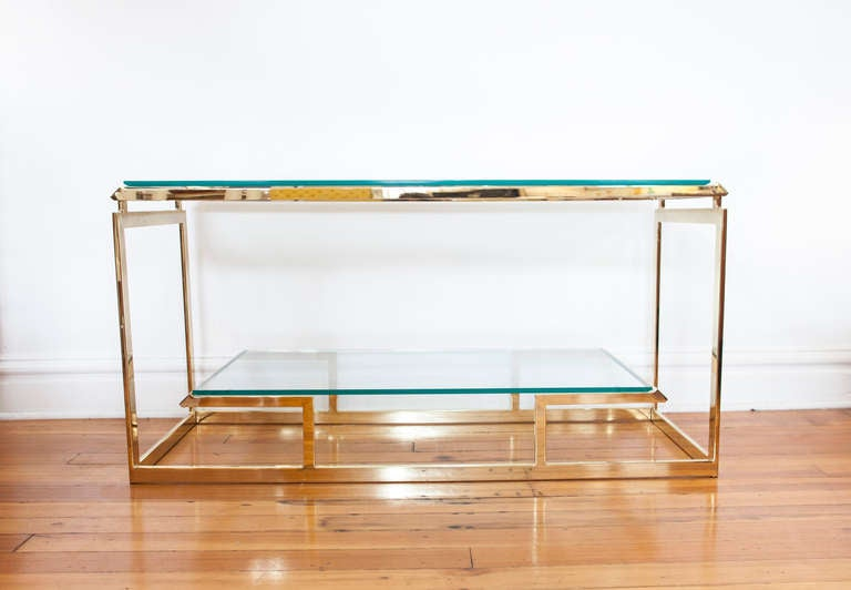 Substantial Glass And Brass Console Table 2