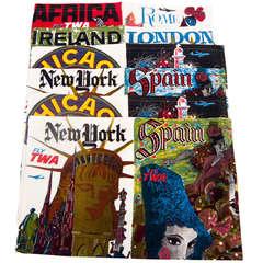 David Klein Vintage Travel Poster Fabric Curtains