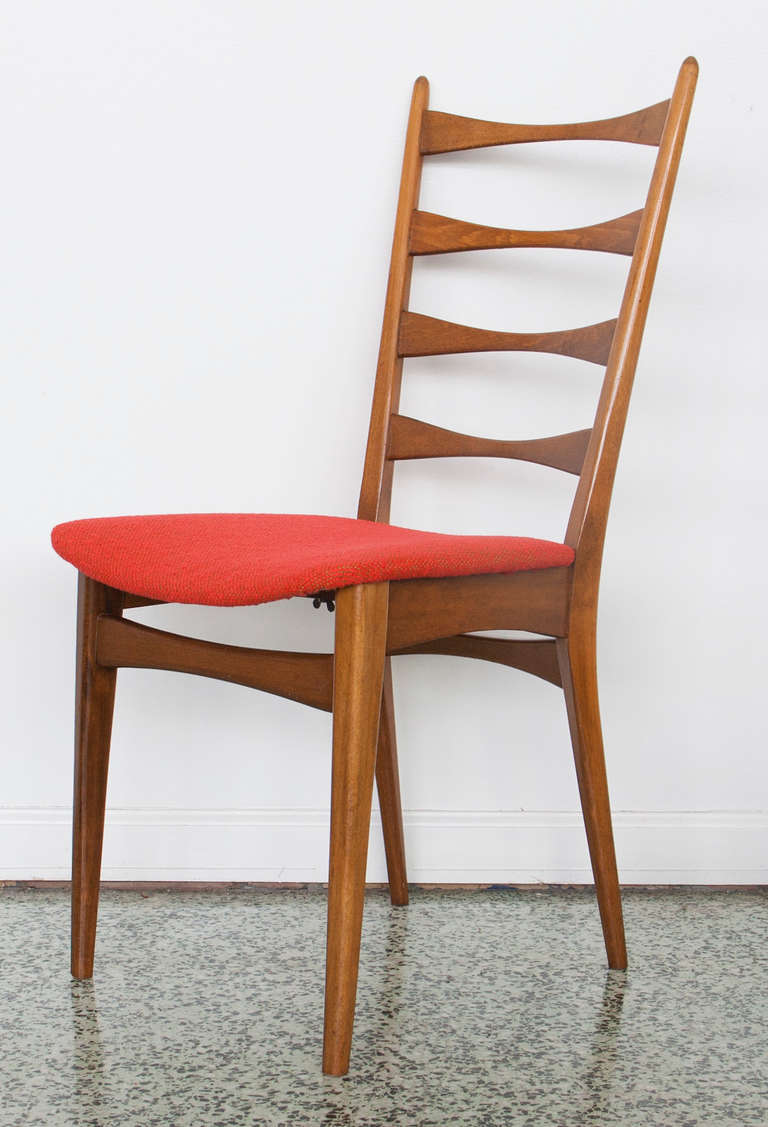 Six Danish Modern Midcentury Ladder Back Dining Chairs At